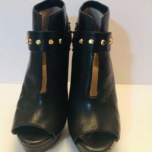 Michael Kors black leather platform booties